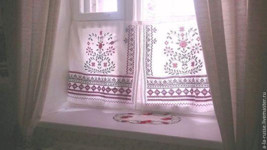 Льняные занавески Деревенские для трапезной с вышивкой крестом. Занавески в деревенском стиле ручной работы, обережная славянская вышивка крестом.