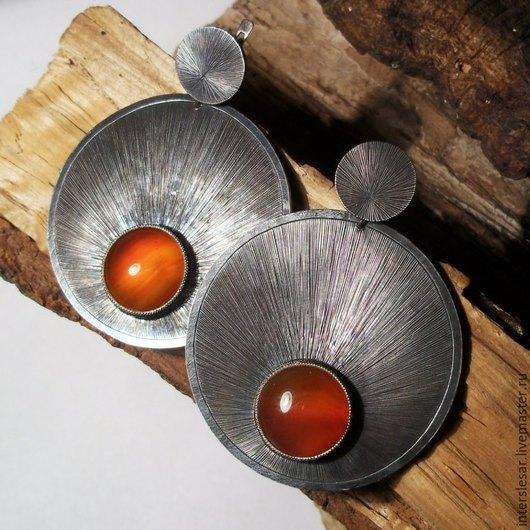 Серьги ручной работы. Ярмарка Мастеров - ручная работа. Купить Сердолик серьги. Handmade. Оранжевый, самоцветы, сердолик натуральный