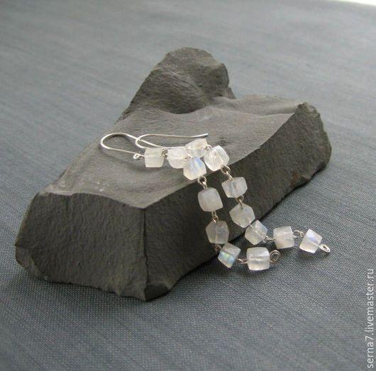 """Серьги ручной работы. Ярмарка Мастеров - ручная работа. Купить Серьги """"Shining"""". Handmade. Белый, серьги камни серебро"""
