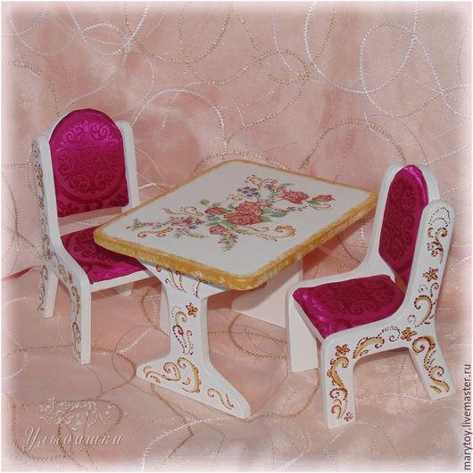 Кукольный дом ручной работы. Ярмарка Мастеров - ручная работа. Купить Кукольная мебель, столик и стульчики. Handmade. Кукольная мебель
