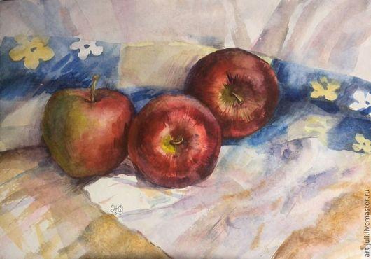 Натюрморт ручной работы. Ярмарка Мастеров - ручная работа. Купить картина акварелью Три поздних яблока 29х42. Handmade. Бордовый