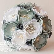 Свадебный салон ручной работы. Ярмарка Мастеров - ручная работа Брошь букет невесты ПИОНОВЫЙ серый. Handmade.