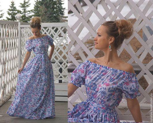 длинное летнее голубое платье