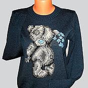 Одежда ручной работы. Ярмарка Мастеров - ручная работа джемпер женский вязаный с вышивкой Мишка тедди. Handmade.