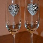 """Бокалы ручной работы. Ярмарка Мастеров - ручная работа Свадебные бокалы с кристаллами Swarovski """"Сердцеедка"""". Handmade."""