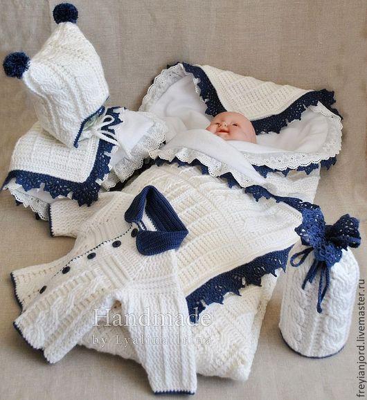 """Для новорожденных, ручной работы. Ярмарка Мастеров - ручная работа. Купить Комплект на выписку """"The joy of birth"""". Handmade."""