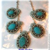 Украшения handmade. Livemaster - original item Necklace with turquoise embroidered beaded Turquoise charm. Handmade.