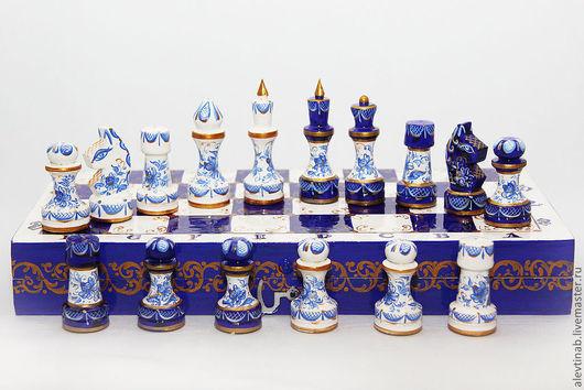 Подарочные наборы ручной работы. Ярмарка Мастеров - ручная работа. Купить шахматы  Гжель-Северное сияние деревянные подарочные. Handmade.