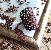 Украшения handmade. Livemaster - original item Cuff bracelet: Leather bracelet Terracotta lace. Handmade.