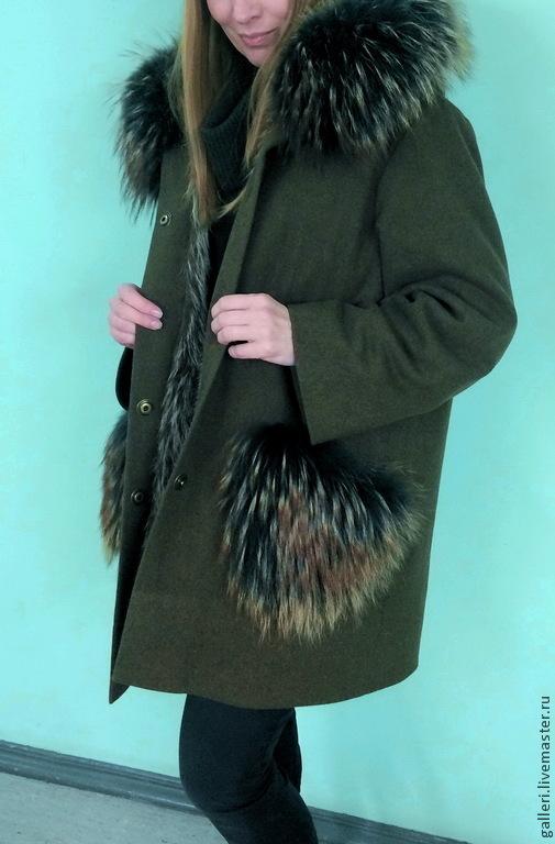 Верхняя одежда ручной работы. Ярмарка Мастеров - ручная работа. Купить Пальто с мехом енота. Handmade. Хаки, пальто с капюшоном