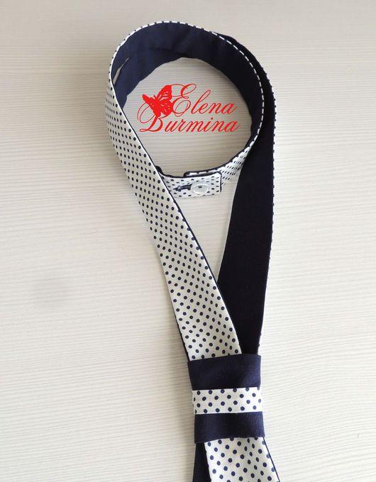 Галстуки, бабочки ручной работы. Ярмарка Мастеров - ручная работа. Купить Женский двухсторонний галстук, хлопок. Handmade. Тёмно-синий