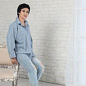 Одежда handmade. Livemaster - original item Shirt in men`s style oversize linen lightweight blue. Handmade.