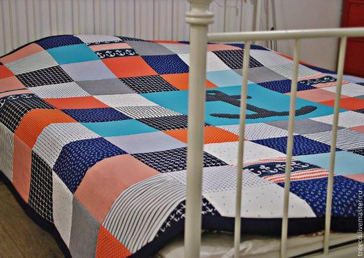 Текстиль, ковры ручной работы. Ярмарка Мастеров - ручная работа. Купить Морское лоскутное одеяло. Handmade. Тёмно-синий