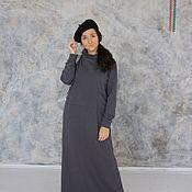 Платья ручной работы. Ярмарка Мастеров - ручная работа Теплое платье из футера (хлопок) длинное. Handmade.