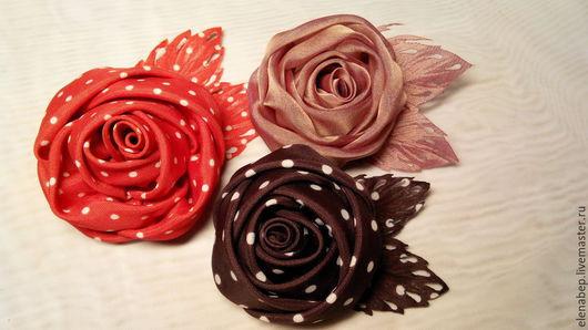 брошь цветок из ткани