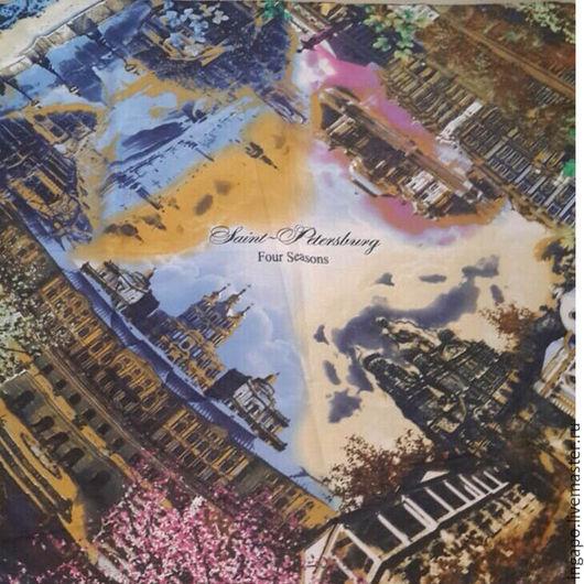 """Шитье ручной работы. Ярмарка Мастеров - ручная работа. Купить Платок """"Это Питер"""" Небо над городом 003. Handmade."""