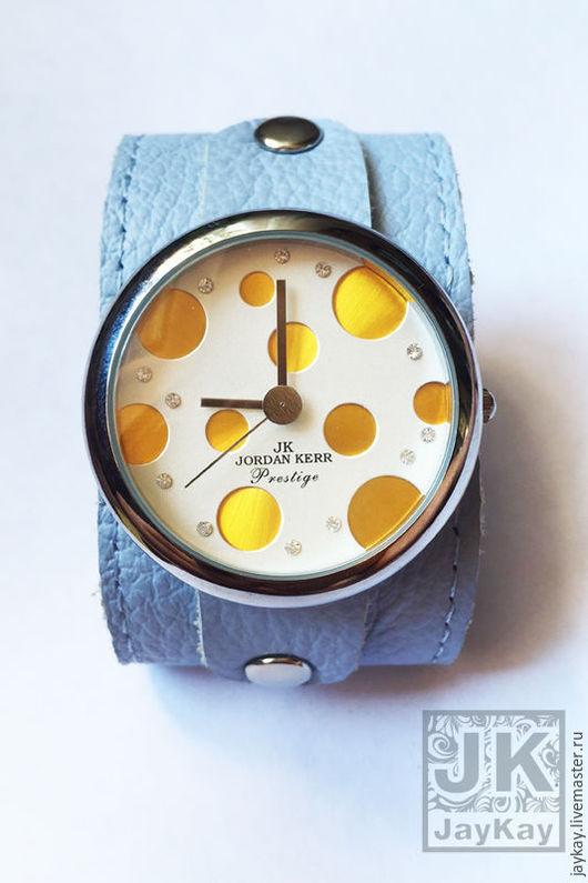 """Часы ручной работы. Ярмарка Мастеров - ручная работа. Купить Часы наручные JK """"желтые"""" в голубом. Handmade. Часы"""