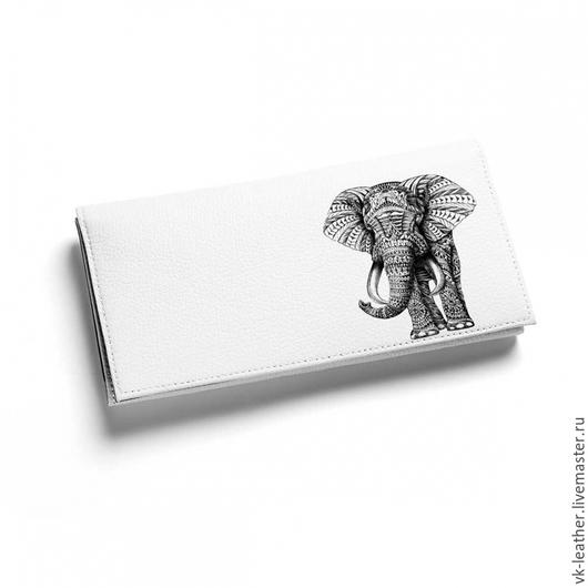 Кошельки и визитницы ручной работы. Ярмарка Мастеров - ручная работа. Купить Кошелек кожаный женский Слон. Handmade. Кошелек