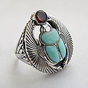 Украшения handmade. Livemaster - original item Scarab ring with artificial turquoise and garnet. Handmade.