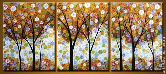"""Абстракция ручной работы. Ярмарка Мастеров - ручная работа. Купить Триптих """"Чудо-дерево"""". Handmade. Триптих, деревья счастья, чудо"""