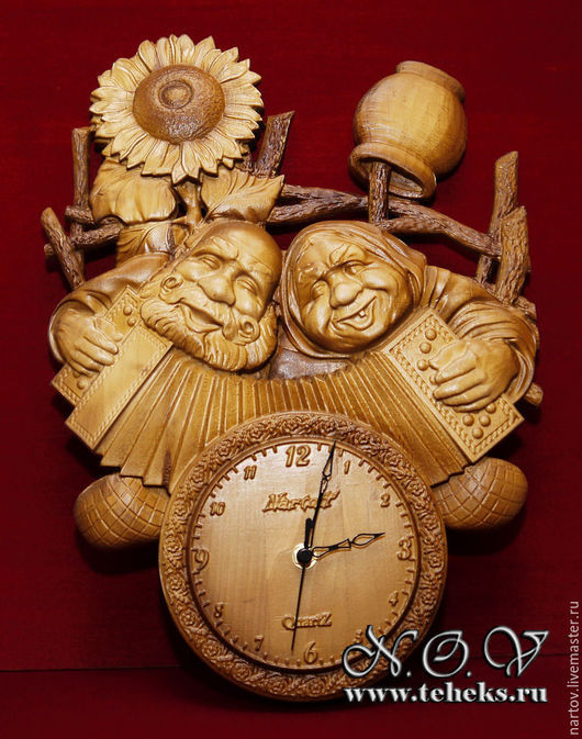 Резные часы из дерева. Любая тематика, любой размер. Эсклюзив.