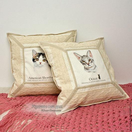 Наволочка декоративная. Подарок любителю кошек. Подушка с кошкой. Коты, кот, кошка, котята. Подарок на Новый год. Набор наволочек. Подарок детям. Подарок друзьям, подруге. Текстиль для дома в гостиную