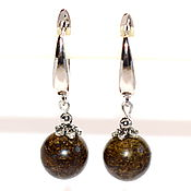 Украшения handmade. Livemaster - original item Earrings made of natural stone bronzite. Handmade.