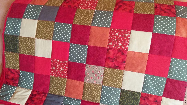Текстиль, ковры ручной работы. Ярмарка Мастеров - ручная работа. Купить Лоскутное одеяло. Handmade. Новый Год, хлопок, сатин