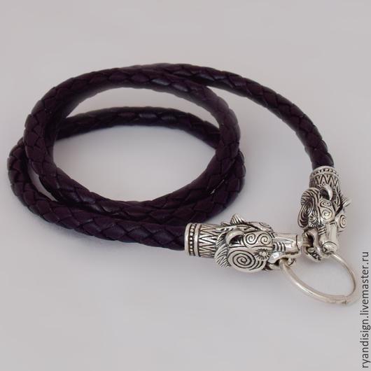 Кожаный шнурок для кулона (подвески), Медведи с застежкой