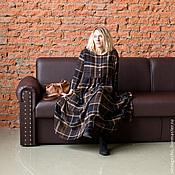 Одежда ручной работы. Ярмарка Мастеров - ручная работа Платье из коричневой шерсти в клетку art.86b. Handmade.