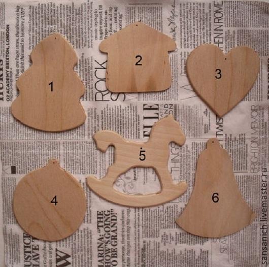 Заготовки для декупажа `Подвески на ёлку` 1-4, 6 - 30 руб.; 5 - 40 руб.
