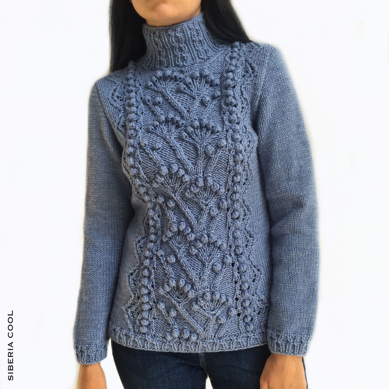Sweater women's Winter garden, cones, large knit, wool blend, blue, Sweaters, Voronezh,  Фото №1