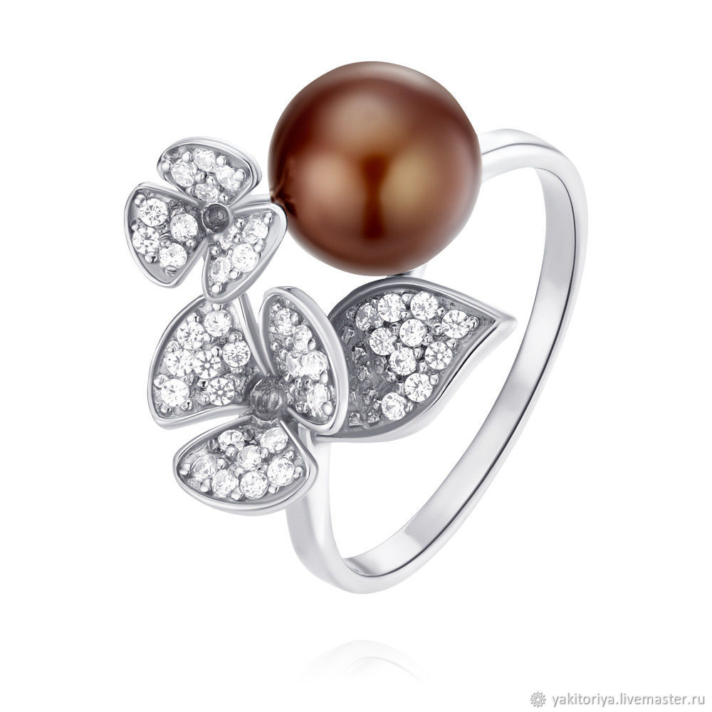 585 gold ring with natural pearls and cubic Zirconia, Rings, Moscow,  Фото №1