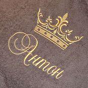 Одежда ручной работы. Ярмарка Мастеров - ручная работа Коричневый детский махровый именной халат. Машинная вышивка. Handmade.