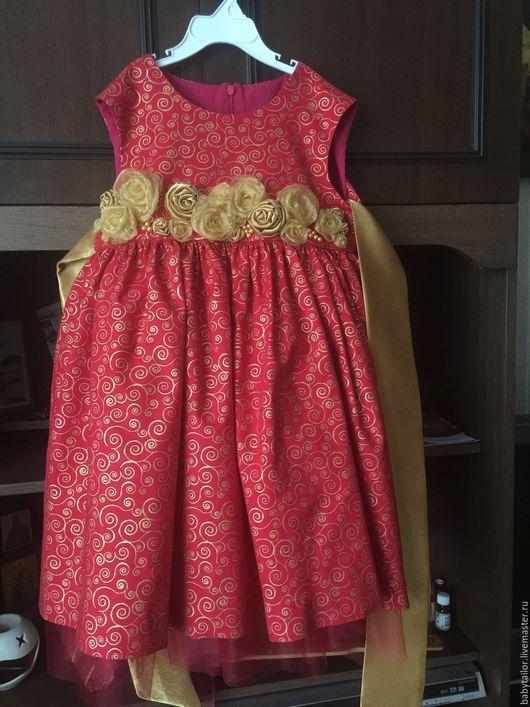 Одежда для девочек, ручной работы. Ярмарка Мастеров - ручная работа. Купить Золото на красном. Handmade. Нарядное платье, американский хлопок