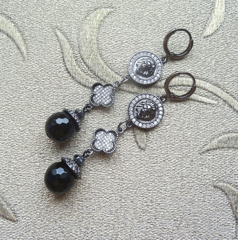 Earrings 'Leo' (agate, zircon, accessories LUX), Earrings, Moscow,  Фото №1