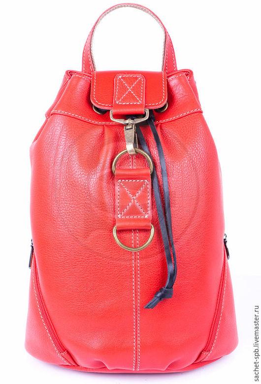 Рюкзаки ручной работы. Ярмарка Мастеров - ручная работа. Купить Рюкзак из кожи Скиппи красный. Handmade. Ярко-красный, рюкзачок
