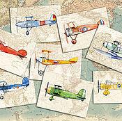 Открытки handmade. Livemaster - original item Planes Cards for men and boys, Set of 8 PCs. Handmade.