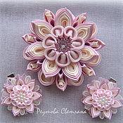 Украшения handmade. Livemaster - original item Jewelry set kanzashi blossom. Handmade.