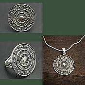 Украшения handmade. Livemaster - original item Ring and pendant Zodiac Signs.Stylish Pendant. Silver pendant.. Handmade.