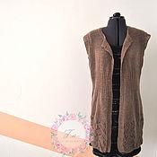 Одежда ручной работы. Ярмарка Мастеров - ручная работа Удлиненный жилет с ажурной спинкой. Handmade.