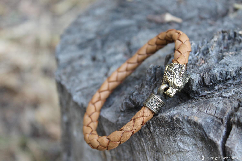 Bracelet leather - Lynx, Bead bracelet, Volgograd,  Фото №1