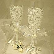 """Свадебный салон ручной работы. Ярмарка Мастеров - ручная работа Свадебные бокалы """"Белый танец"""". Handmade."""