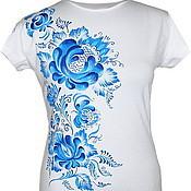 Одежда ручной работы. Ярмарка Мастеров - ручная работа футболка Гжель. Handmade.
