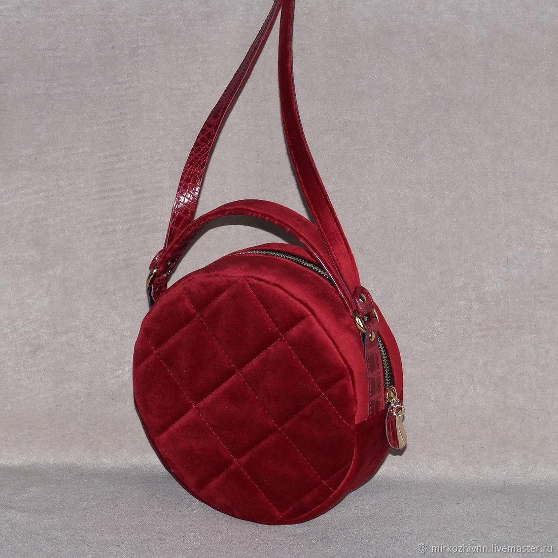 0d4502e42b8d Женские сумки ручной работы. Сумка женская бархатная, сумочка круглая  'Красный бархат'.