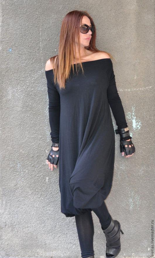 Комбинезон-платье. Комбинезон с длинным рукавом. Черный комбинезон. Модная одежда.