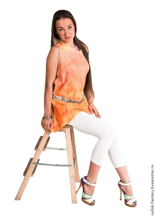 """Пляжные туники ручной работы. Ярмарка Мастеров - ручная работа. Купить Платье-туника """"Спелый персик"""". Handmade. Летняя одежда"""