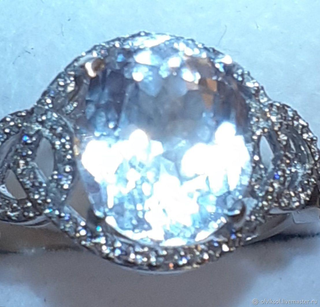 Кольцо с большим природным данбуритом 4ct, 925, Кольца, Москва,  Фото №1
