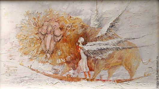 """Фантазийные сюжеты ручной работы. Ярмарка Мастеров - ручная работа. Купить """"Прогулка в облаках"""". Handmade. Небо, ангел добрых снов"""