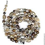 Украшения handmade. Livemaster - original item Long beads in 3 turns natural stones agate, citrine, tiger`s eye. Handmade.